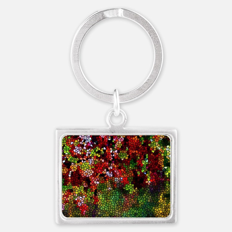 Stained Glass Autumn leaves ref Landscape Keychain