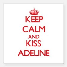 "Keep Calm and Kiss Adeline Square Car Magnet 3"" x"