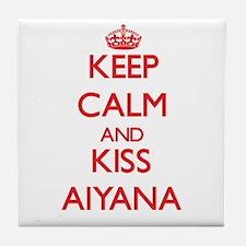 Keep Calm and Kiss Aiyana Tile Coaster