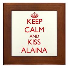Keep Calm and Kiss Alaina Framed Tile