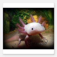 """I <3 Axolotl Square Car Magnet 3"""" x 3"""""""