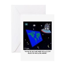 Flat Earth & No Global Warming Greeting Card