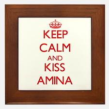 Keep Calm and Kiss Amina Framed Tile