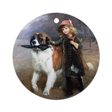 A Little Girl and Her Dog Ornament (Round)