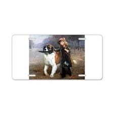 A Little Girl and Her Dog Aluminum License Plate