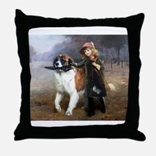 A Little Girl and Her Dog Throw Pillow