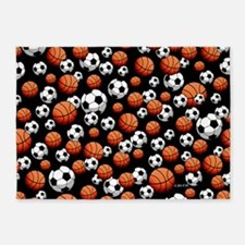 Basketball & Soccer 5'x7'Area Rug