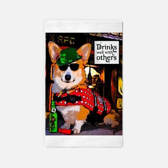 Irish Pub Corgi 3'x5' Area Rug