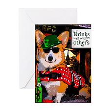 Irish Pub Corgi Greeting Cards