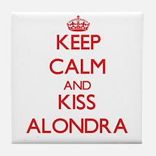 Keep Calm and Kiss Alondra Tile Coaster