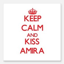 "Keep Calm and Kiss Amira Square Car Magnet 3"" x 3"""