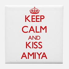 Keep Calm and Kiss Amiya Tile Coaster