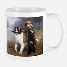 A Little Girl and Her Dog Mugs