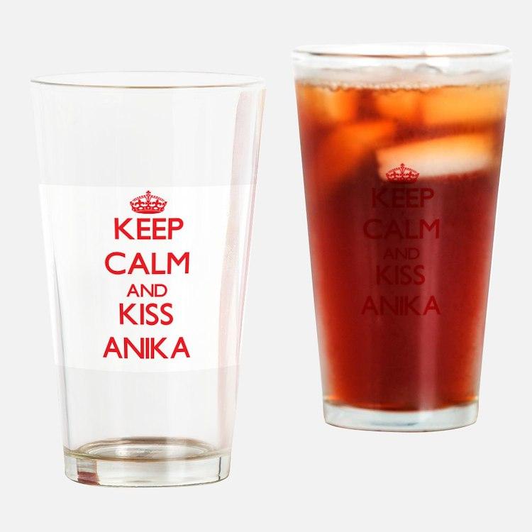 Keep Calm and Kiss Anika Drinking Glass