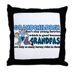 Grandpa's Horsey Rides Throw Pillow