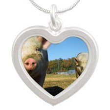 pigs2 Silver Heart Necklace