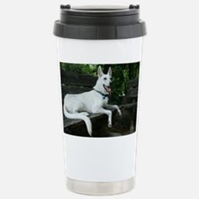 White Shepherd on a ben Stainless Steel Travel Mug