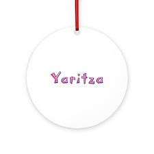 Yaritza Pink Giraffe Round Ornament