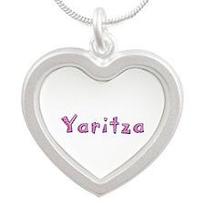 Yaritza Pink Giraffe Silver Heart Necklace
