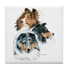 Sheltie Portraits Tile Coaster