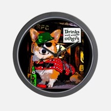 St Patricks Day Corgi Wall Clock