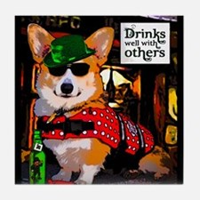 St Patricks Day Corgi Tile Coaster