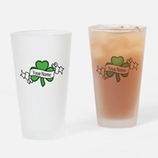 Shamrock CUSTOM TEXT Drinking Glass