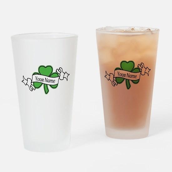 Shamrock CUSTOM TEXT Drinking Glass
