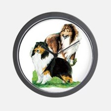 Sheltie Paintings Wall Clock