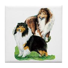 Sheltie Paintings Tile Coaster