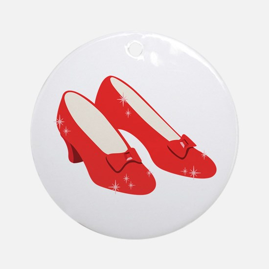 Wizard Of Oz Ruby Slippers Ornament (Round)