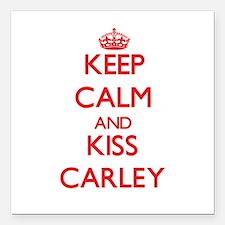 "Keep Calm and Kiss Carley Square Car Magnet 3"" x 3"
