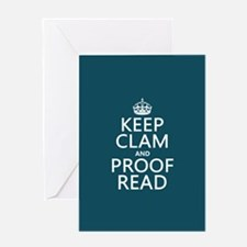 Keep Calm and Proof Read (clam) Greeting Cards