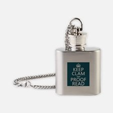 Keep Calm and Proof Read (clam) Flask Necklace