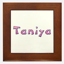 Taniya Pink Giraffe Framed Tile