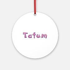 Tatum Pink Giraffe Round Ornament