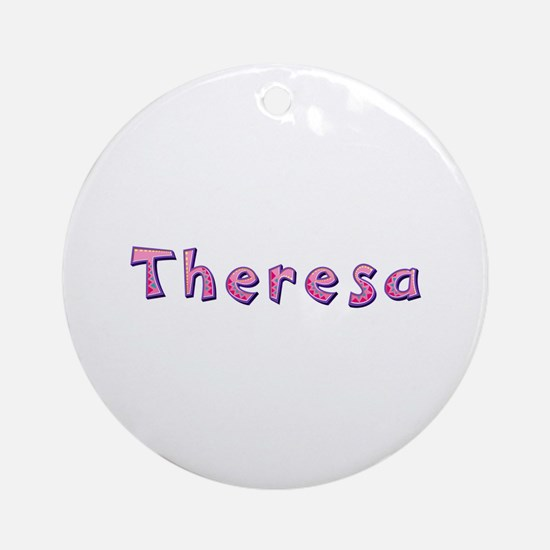 Theresa Pink Giraffe Round Ornament