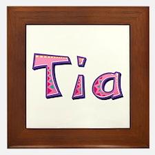 Tia Pink Giraffe Framed Tile