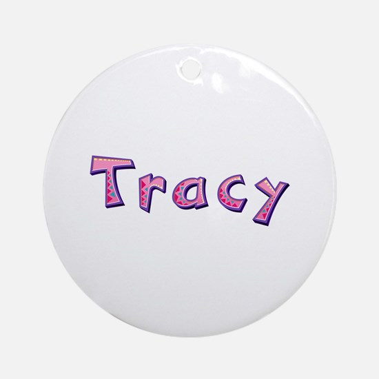 Tracy Pink Giraffe Round Ornament