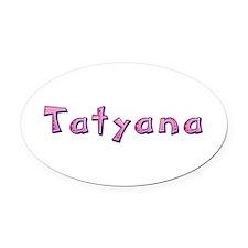 Tatyana Pink Giraffe Oval Car Magnet