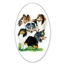 Sheltie Group Oval Bumper Stickers