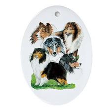 Sheltie Group Oval Ornament