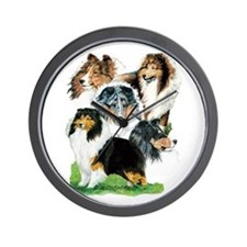 Sheltie Group Wall Clock