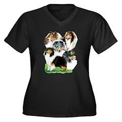 Sheltie Group Women's Plus Size V-Neck Dark T-Shir