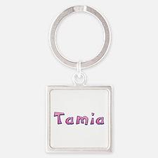 Tamia Pink Giraffe Square Keychain