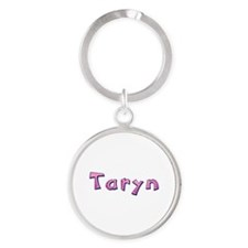 Taryn Pink Giraffe Round Keychain