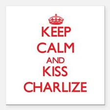 "Keep Calm and Kiss Charlize Square Car Magnet 3"" x"