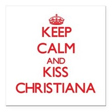 Keep Calm and Kiss Christiana Square Car Magnet 3""