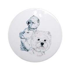 Westie Pair Ornament (Round)