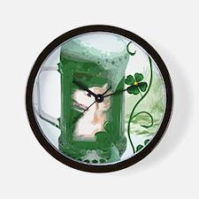 St Patricks Corgi Beer Mug Wall Clock